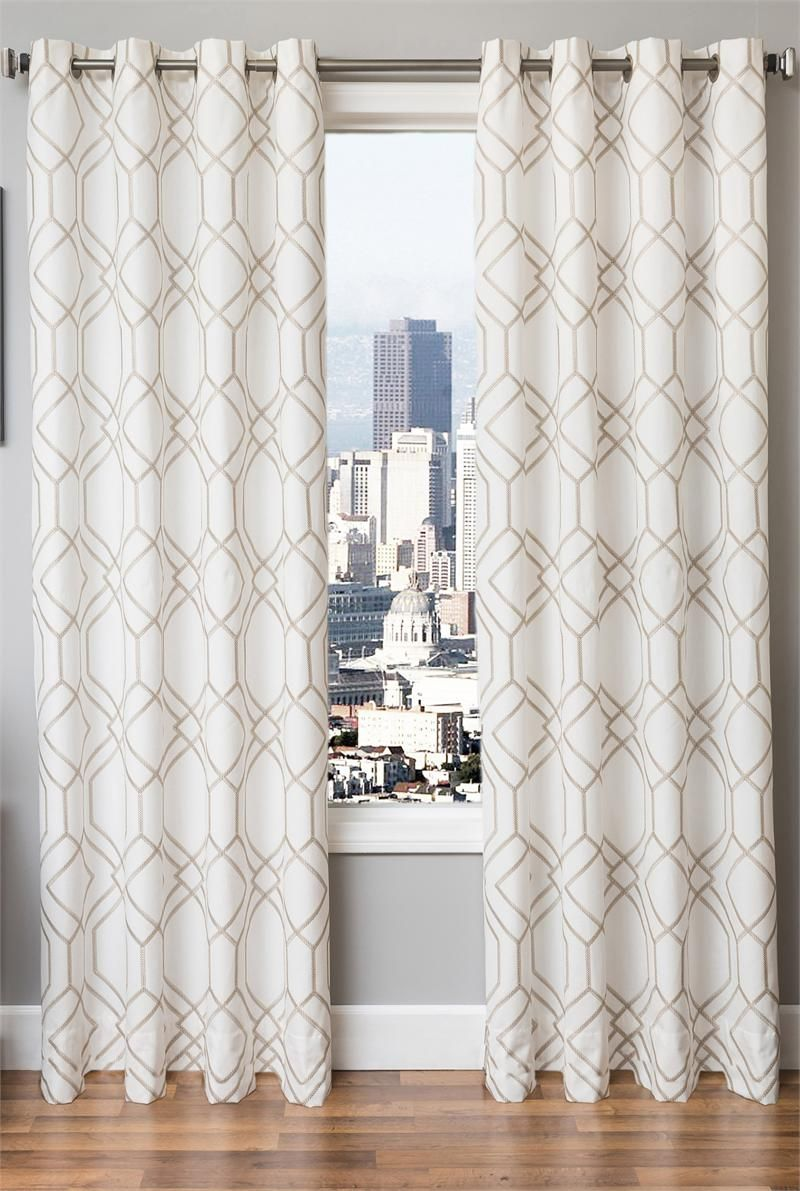 Moroccan tile pattern curtains - Quinn Chic Modern Curtain Panels With Geometric Embroidery On Linen Blend Fabric For Standard Size Drapes