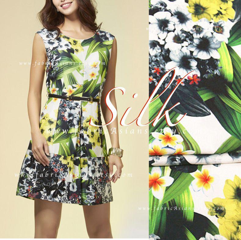 tissu de soie imprim hawa en grosses fleurs de couleur vert et jaune sur fond blanc tissus. Black Bedroom Furniture Sets. Home Design Ideas