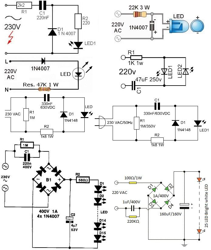 opciones circuito lampara led a 220v
