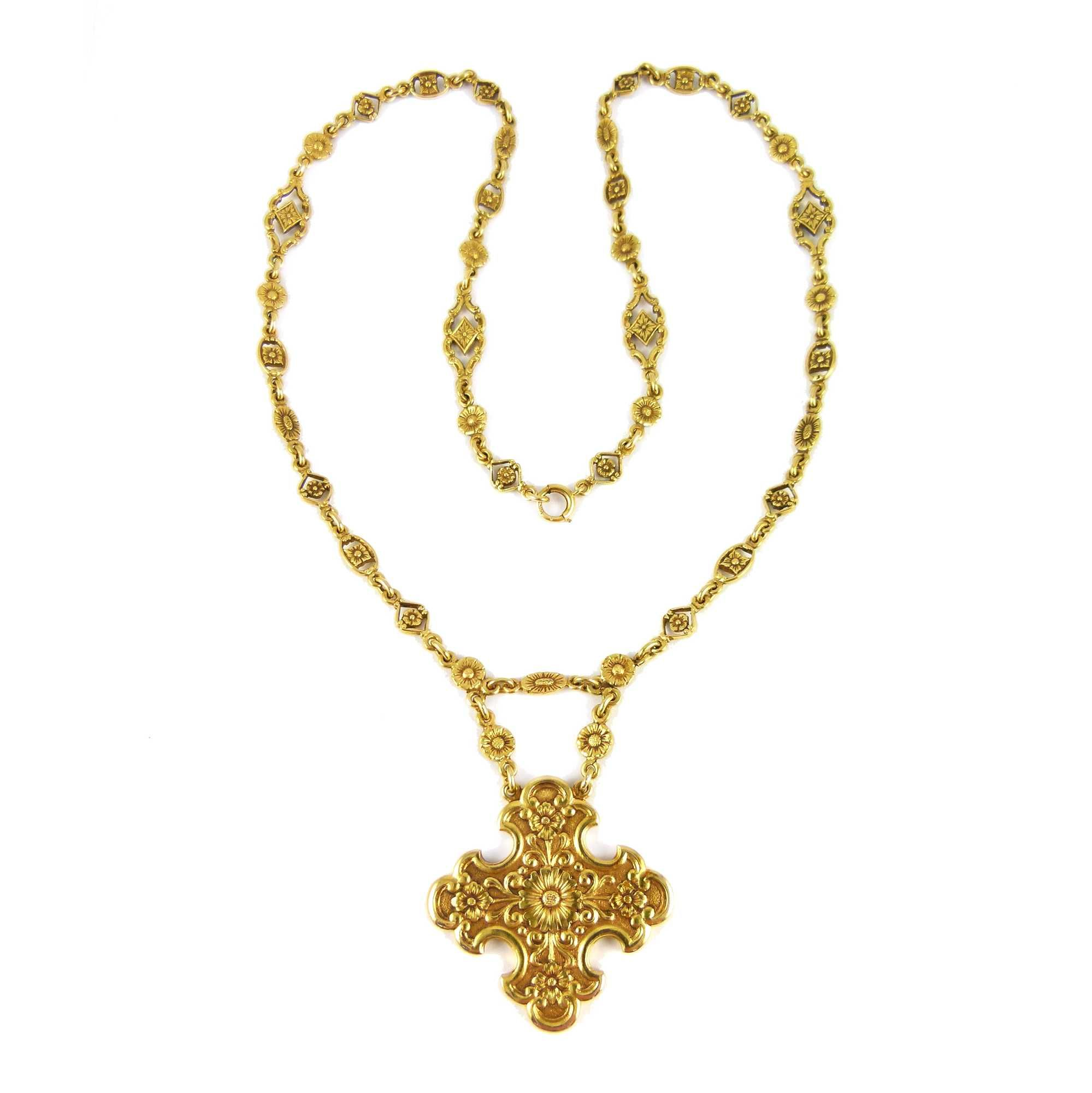double yellow gold bishop necklace trapeze chains diamond row winsor
