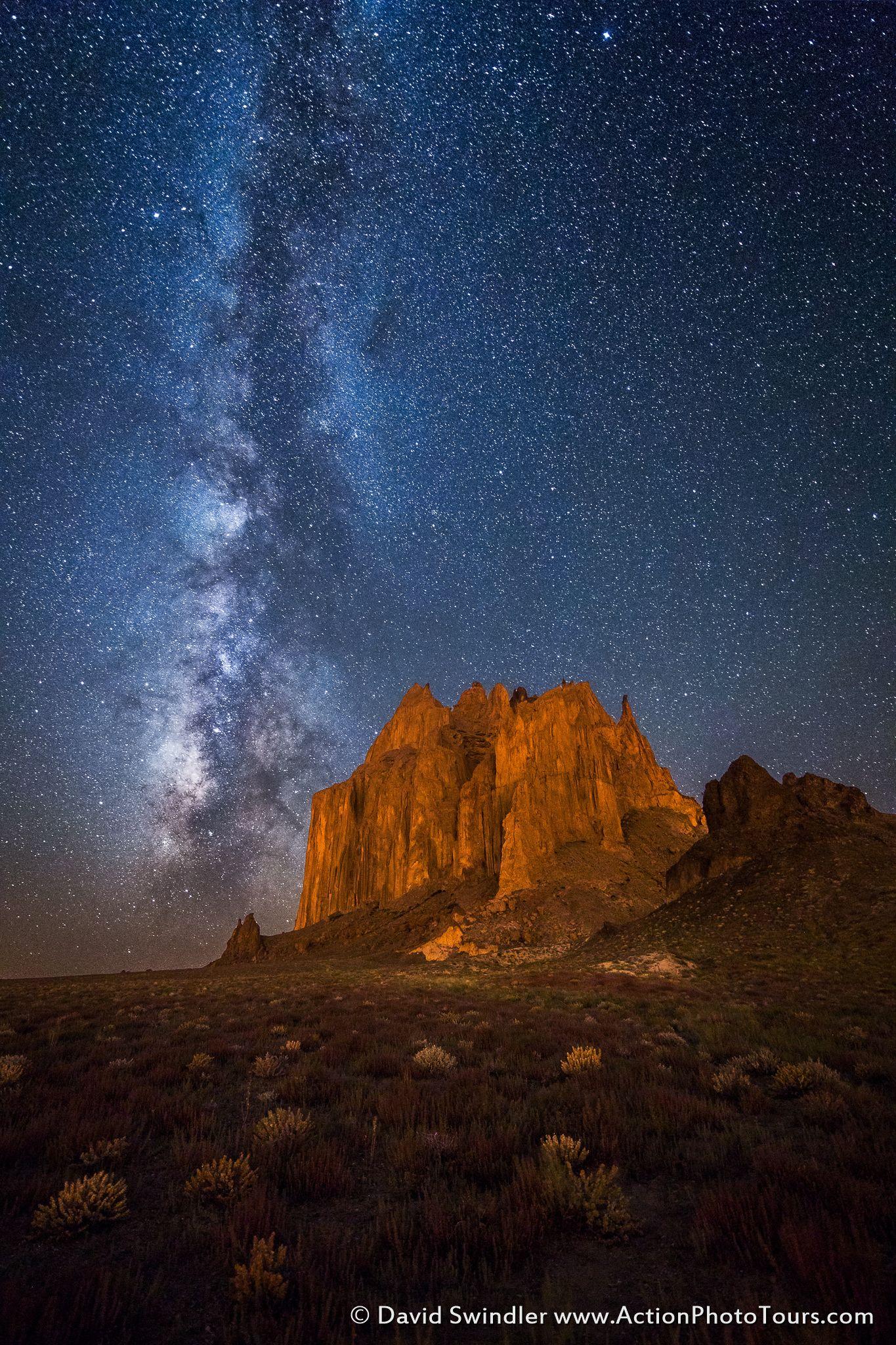 Shiprock At Night Shiprock Night Sky Painting Milky Way