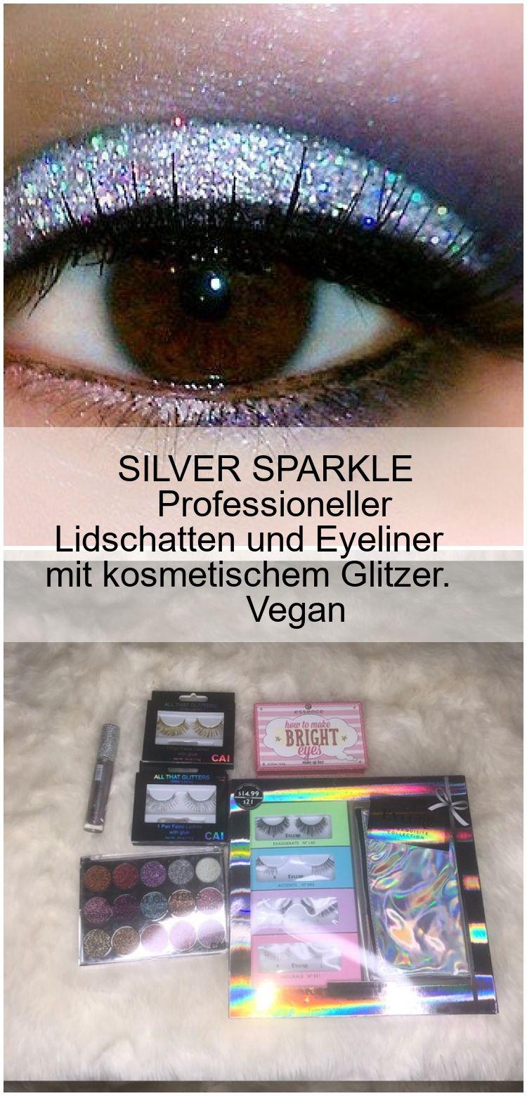 SILVER SPARKLE Professioneller Lidschatten und Eyeliner mit kosmetischem Glitzer. Vegan SILVER SPAR