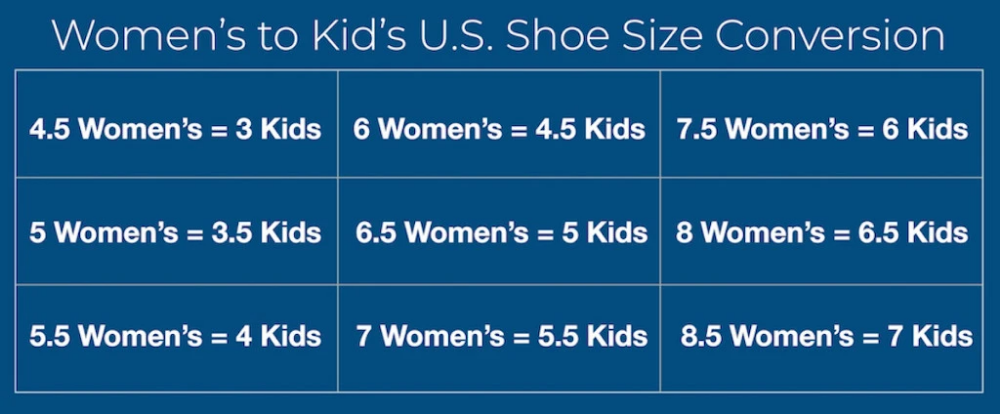 big kid size 6 to women's