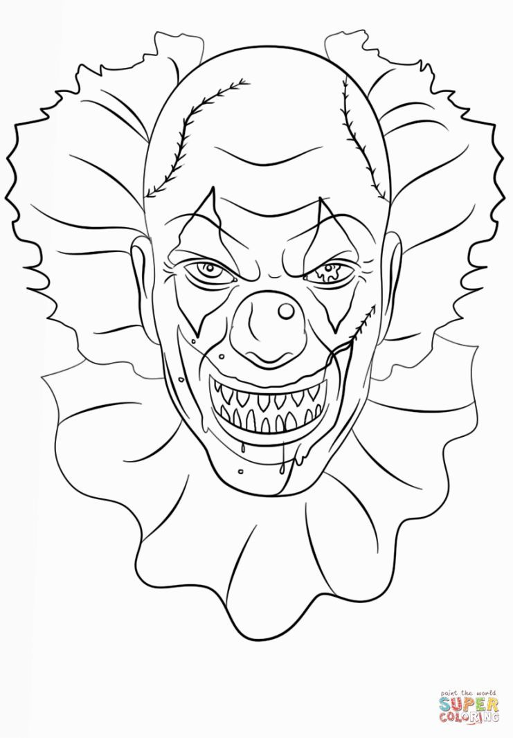 scary clown coloring pages coloring pages pinterest scary