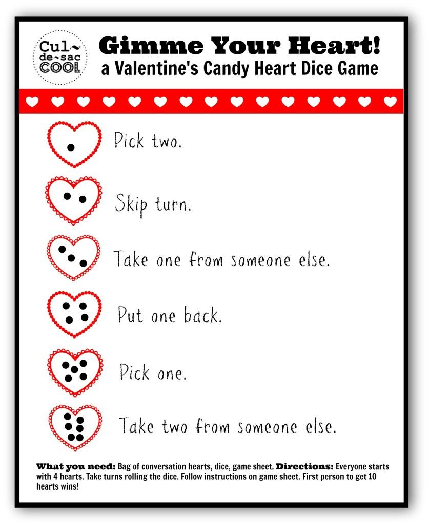 Gimme Your Heart! A Valentine's candy heart dice game ...