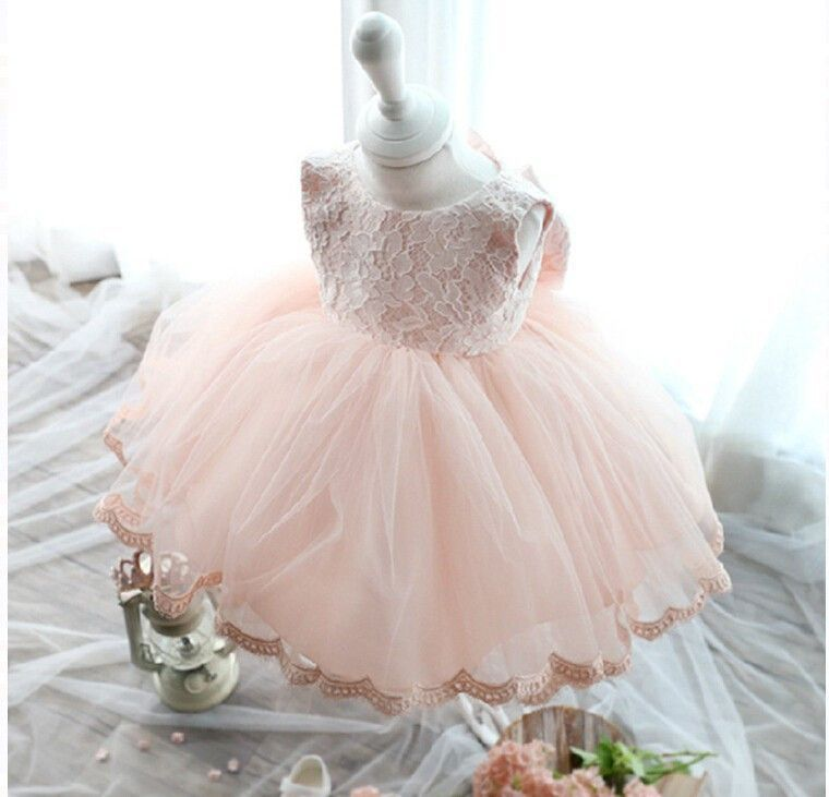 Mahala Wedding Dress: Pink Formal Tutu Bow Flower Lace Dress- Ready To Ship