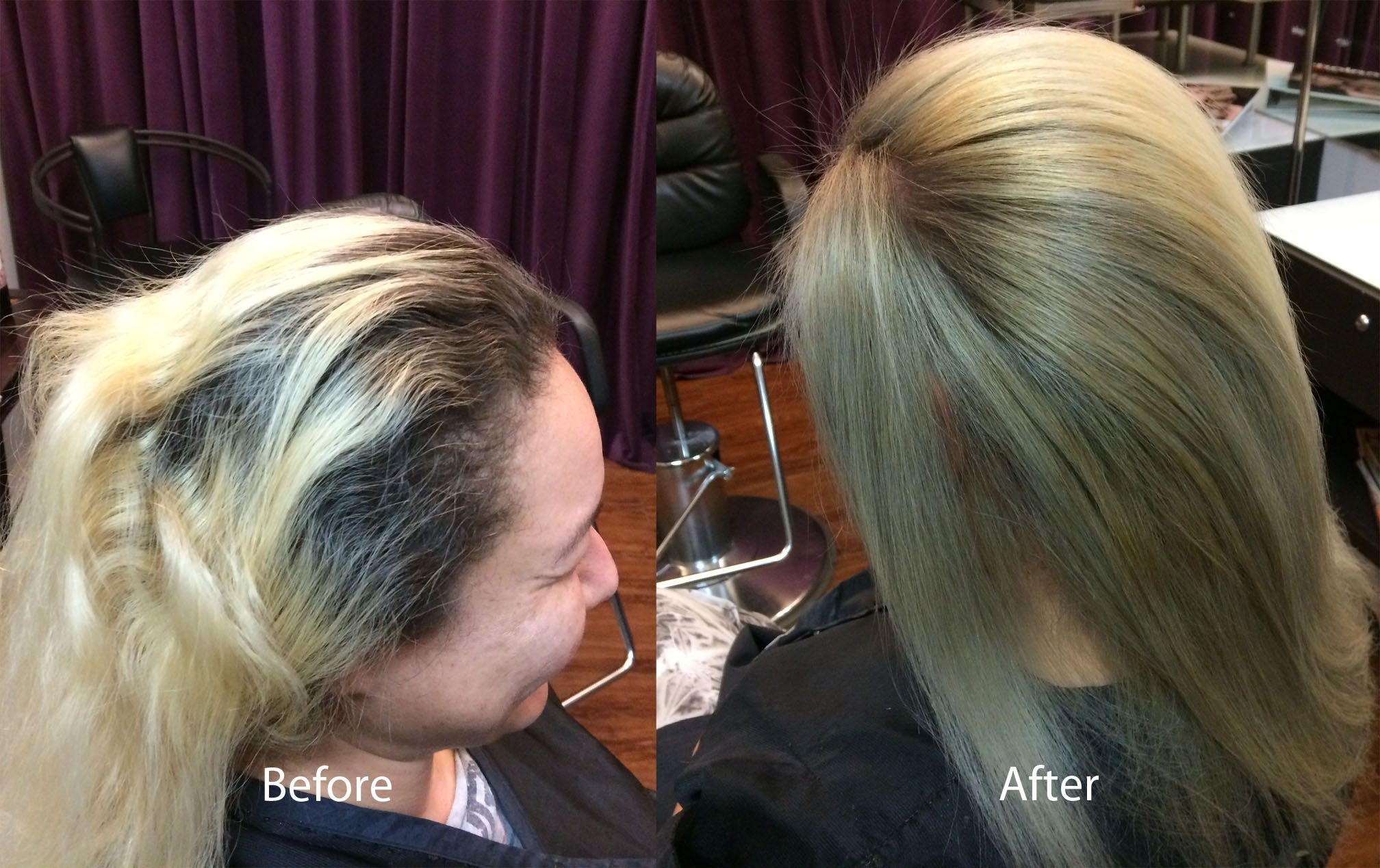 Double Process Bleach Blonde With Smokey
