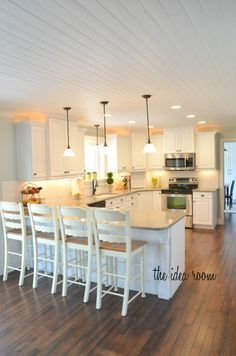 how to diy a wood plank ceiling | wood plank ceiling, plank