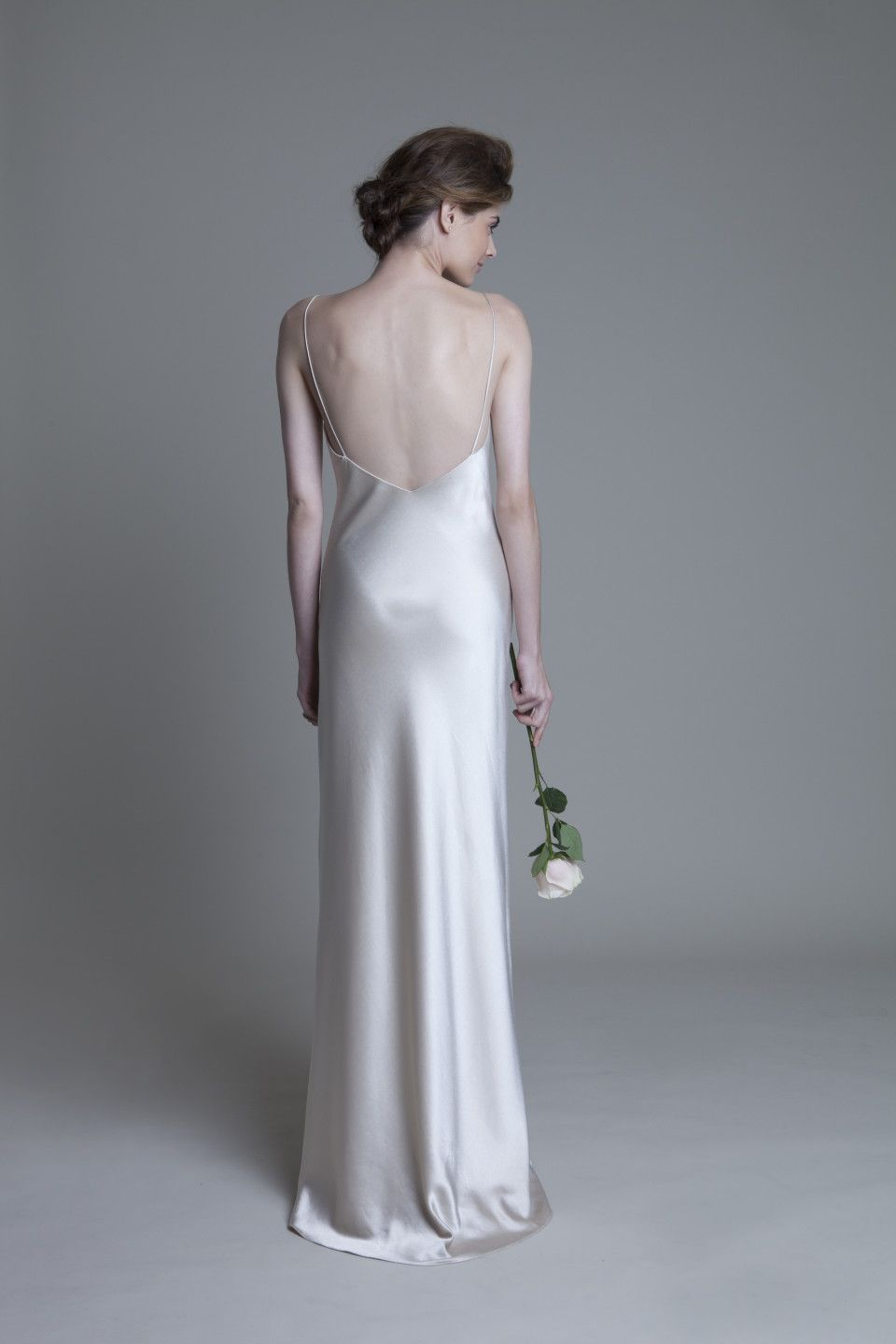 Backless wedding dress satin wedding gown with straps by british