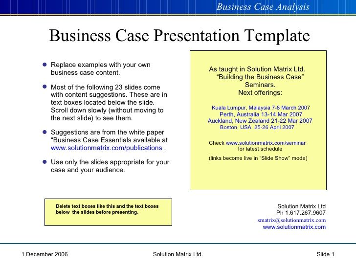 Business Case Presentation cba Pinterest Case presentation - business case template word