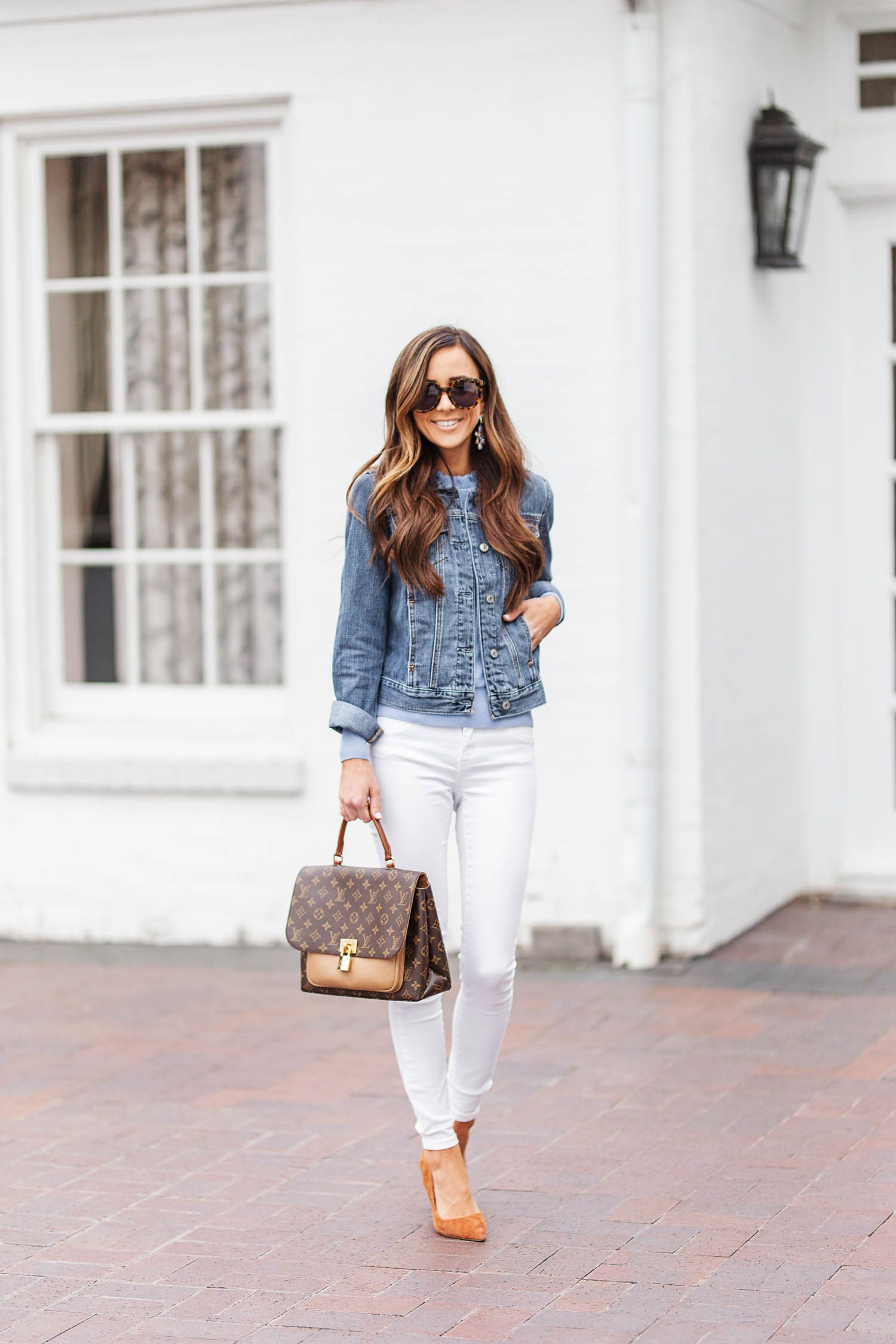 Where To Buy The Cutest Denim Jacket Under 60 Alyson Haley Denim Jacket Outfit Denim Fashion Denim Outfit [ 2250 x 1500 Pixel ]