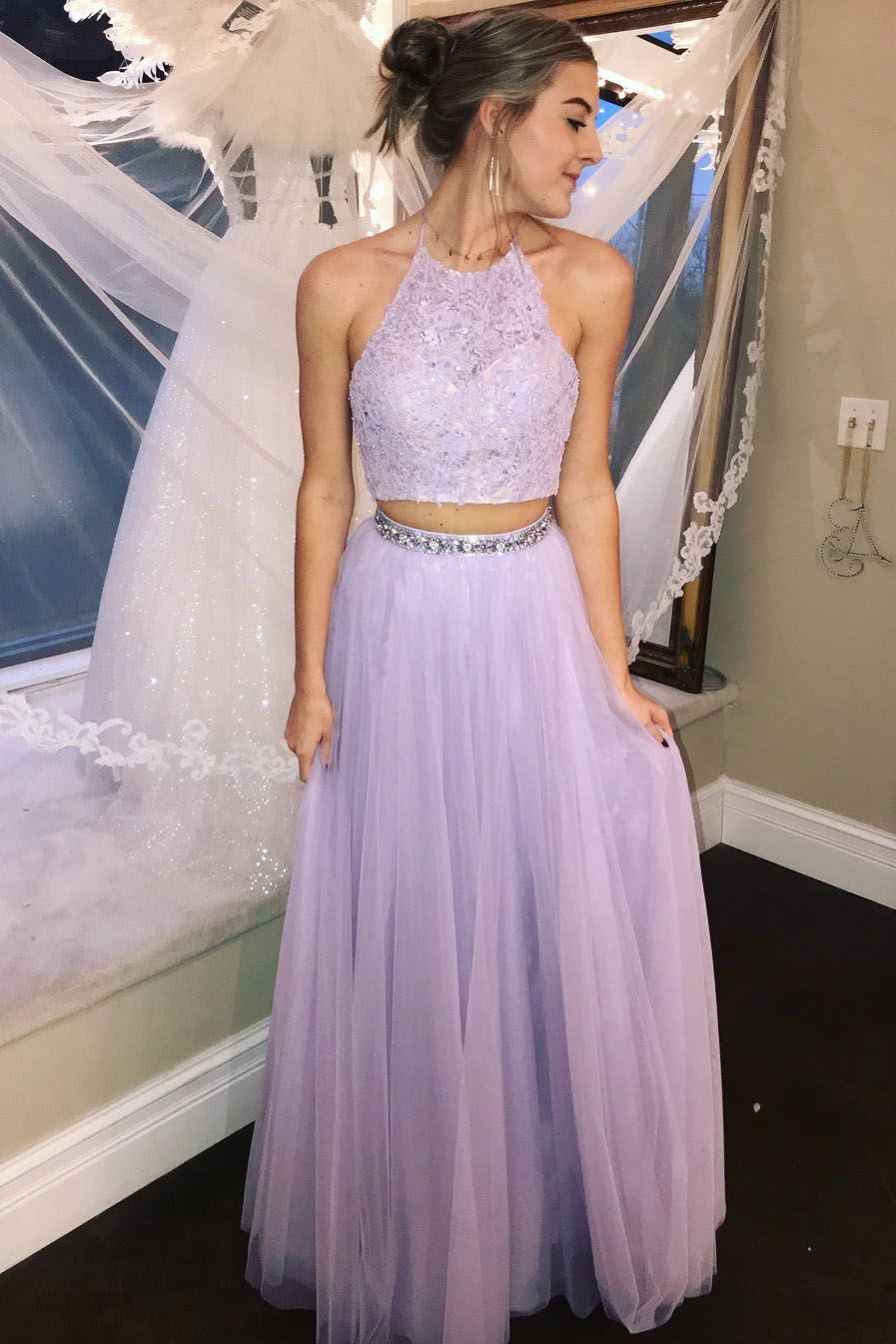 Two piece halter lavender long prom dress prom and hoco