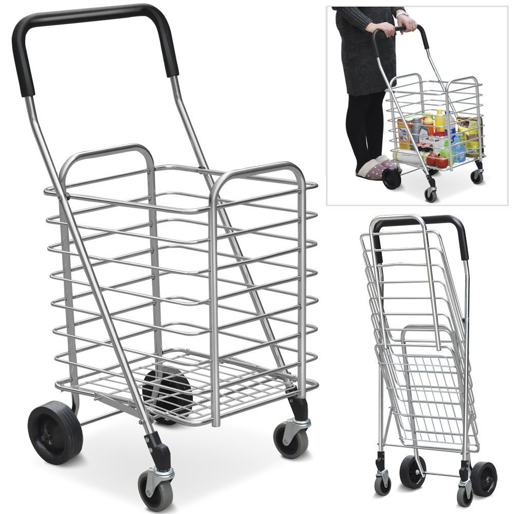 Folding Shopping Cart Basket Rubber Wheels Laundry Grocery Travel