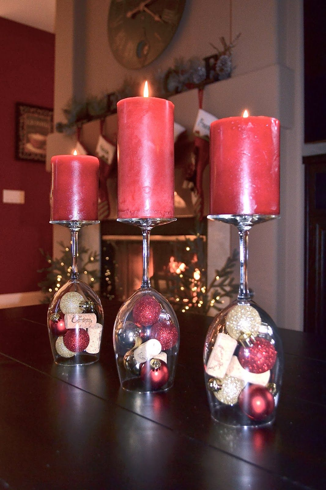 Loveable And Artistic Christmas Table Centerpiece Idea With Reversed Wine Glas Christmas Centerpieces Christmas Table Decorations Christmas Table Centerpieces