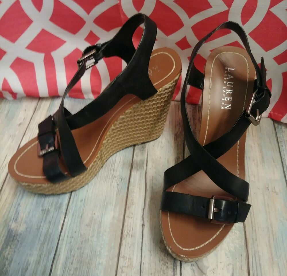 05593f9157b2d Ralph Lauren Dover Vachetta Black Wedge Platform Leather Open Toe Sandal  New 7.5  RalphLaurenCollection
