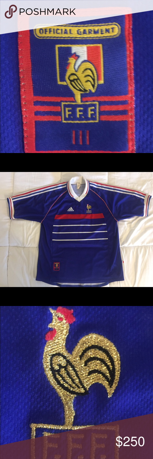 bbc2f8eb39 Vintage Adidas France 98 World Cup Jersey Collectors item. Wear a piece of  history with this France 1998 World up Jersey. The year that made history  by a ...