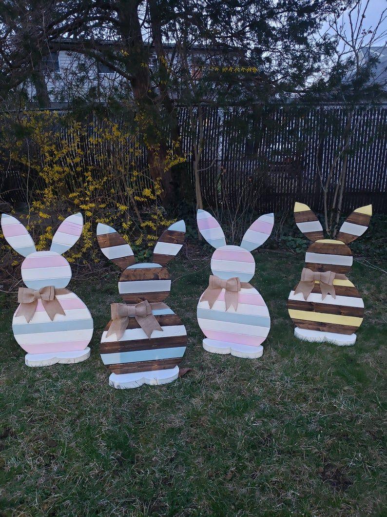 Photo of 3ft høye veranda kanin, tre kanin, veranda dekor, våren, velkomstsignal, påske, påske skilt, Jute, trearbeid, håndlaget, håndmalt