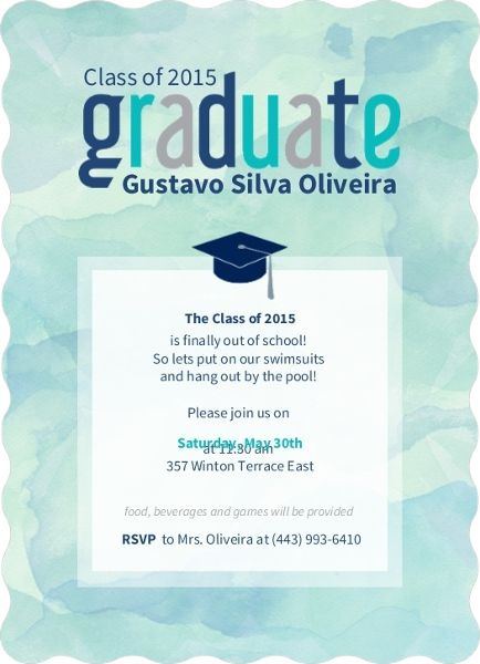 Watercolor Graduation Pool Party Invitation by InviteShop – Pool Party Invitation Wording Ideas