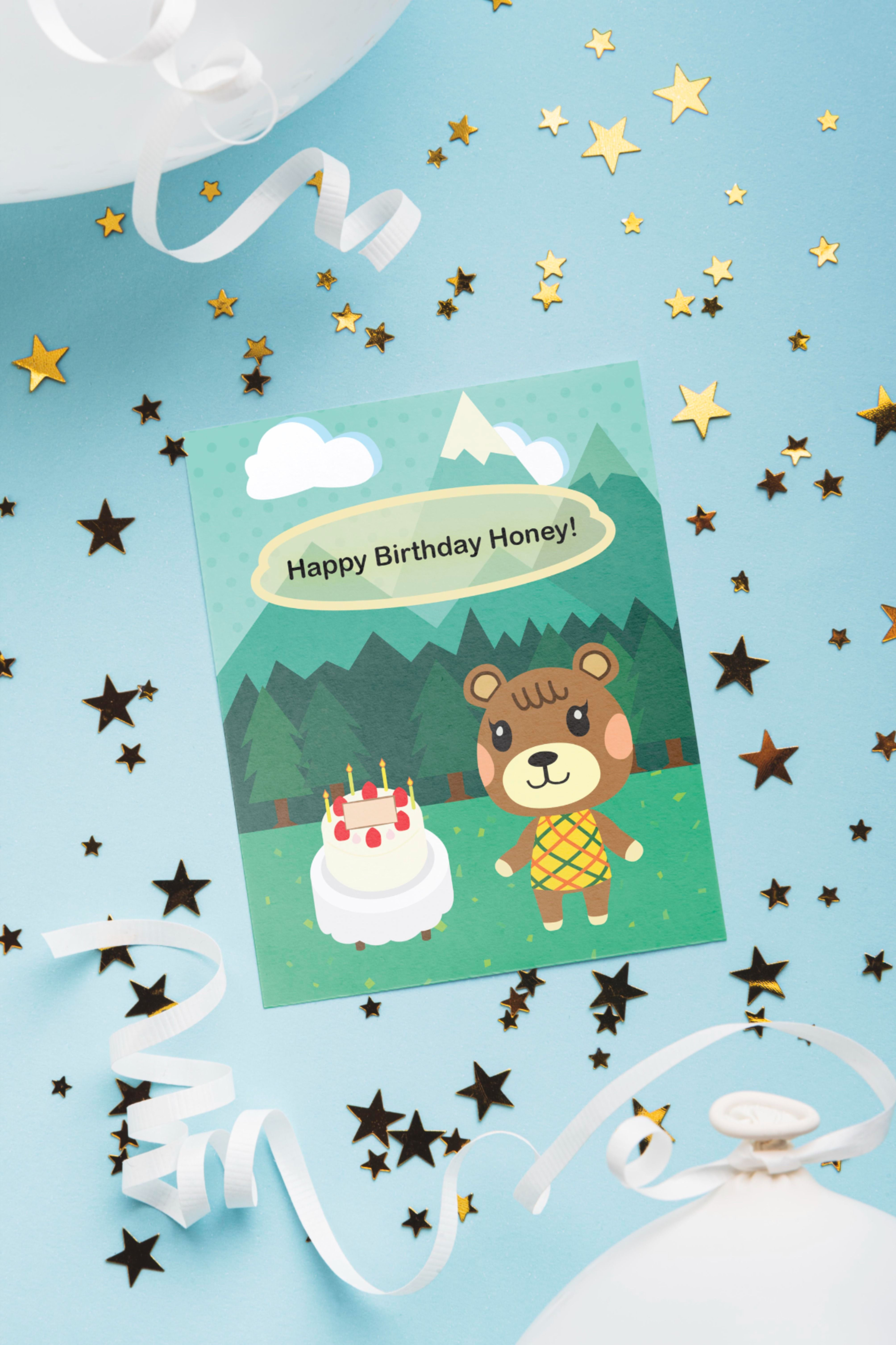 Maple Villager Birthday Card, Happy Birthday Honey, Cute ...