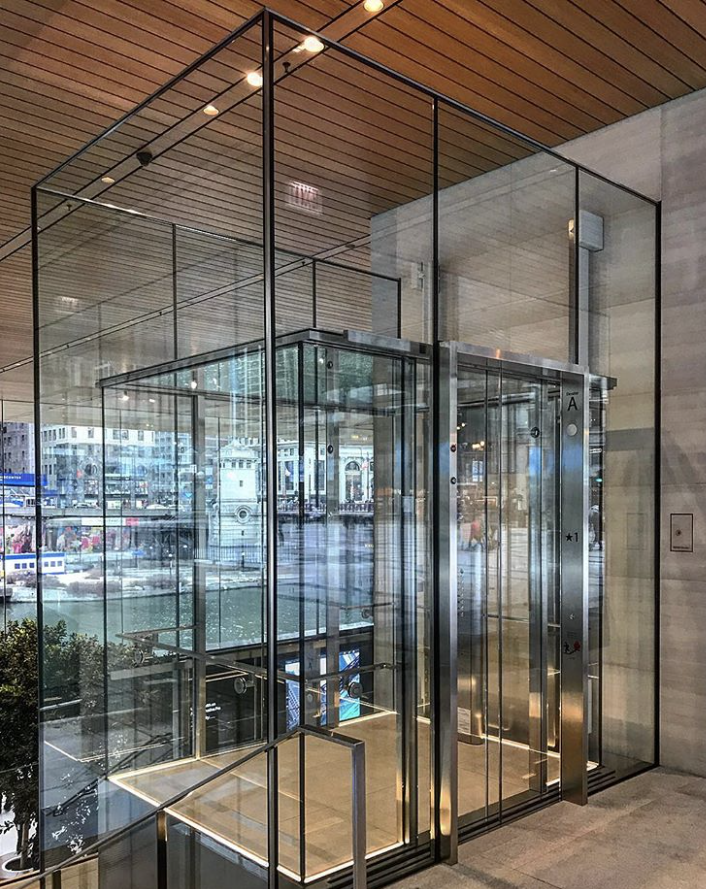 Glass elevator apple store chicago image credit ig public glass elevator apple store chicago image credit ig public visitor glass doors ceiling linear in floor lighting pinterest planetlyrics Gallery