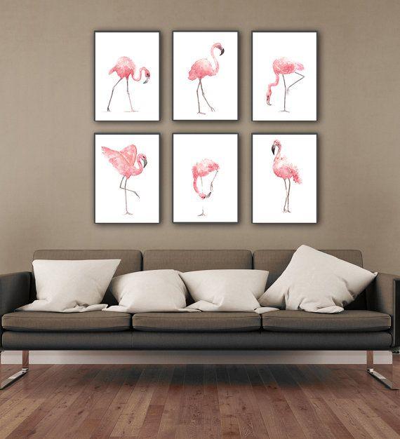 Flamingo Watercolor Painting, Set of 2 Birds, Pink Abstract Art - finke küchen angebote
