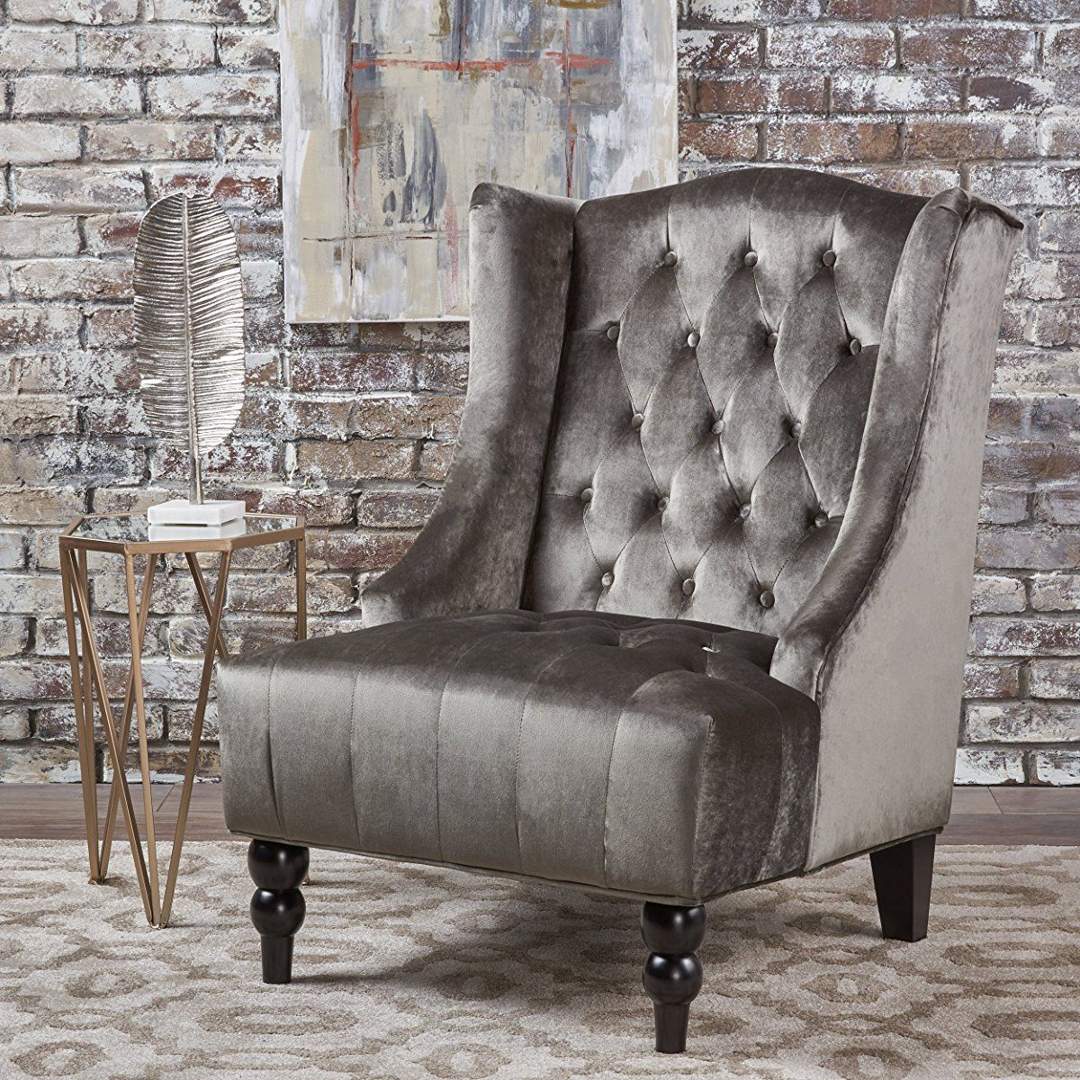 High Back Grey Velvet Dining Chairs Computer Amazon Talisa Winged Tufted New Club Chair