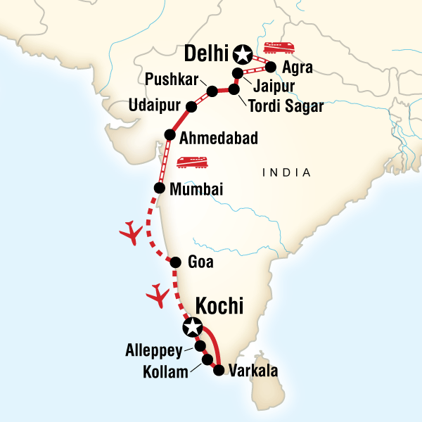 Map Of The Route For North To South India On A Shoestring Oh The