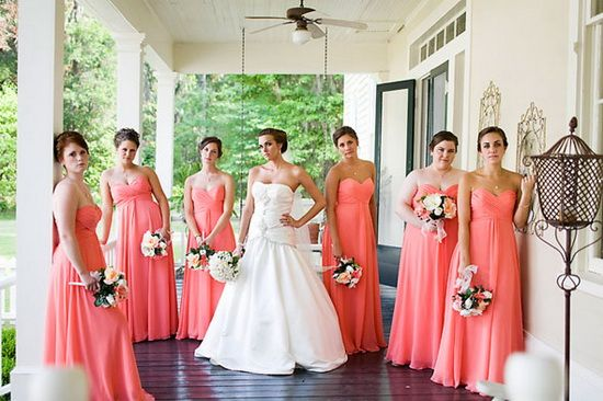 Coral Chiffon Long Bridesmaid Dresses In Wedding