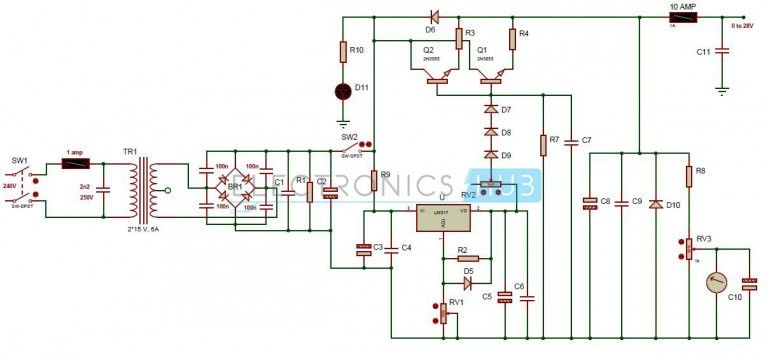 0 28v 6 8a power supply circuit using lm317 and 2n3055 technology rh pinterest com