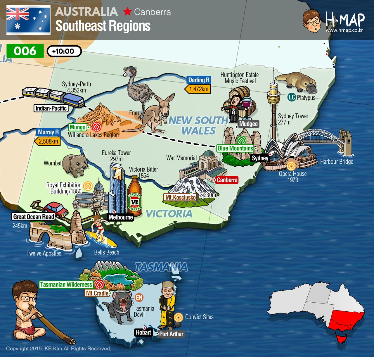 Australia Map Southeast Regions New South Wales Victoria