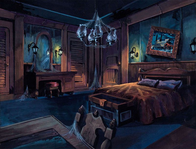 A Very Detailed Background Color Key Of The Haunted Bedroom For Scooby Doo On Zombie Island Hanna Barbera 1998