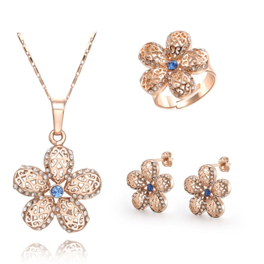 Gold plated big flower crystal necklaceearringsring jewelry set