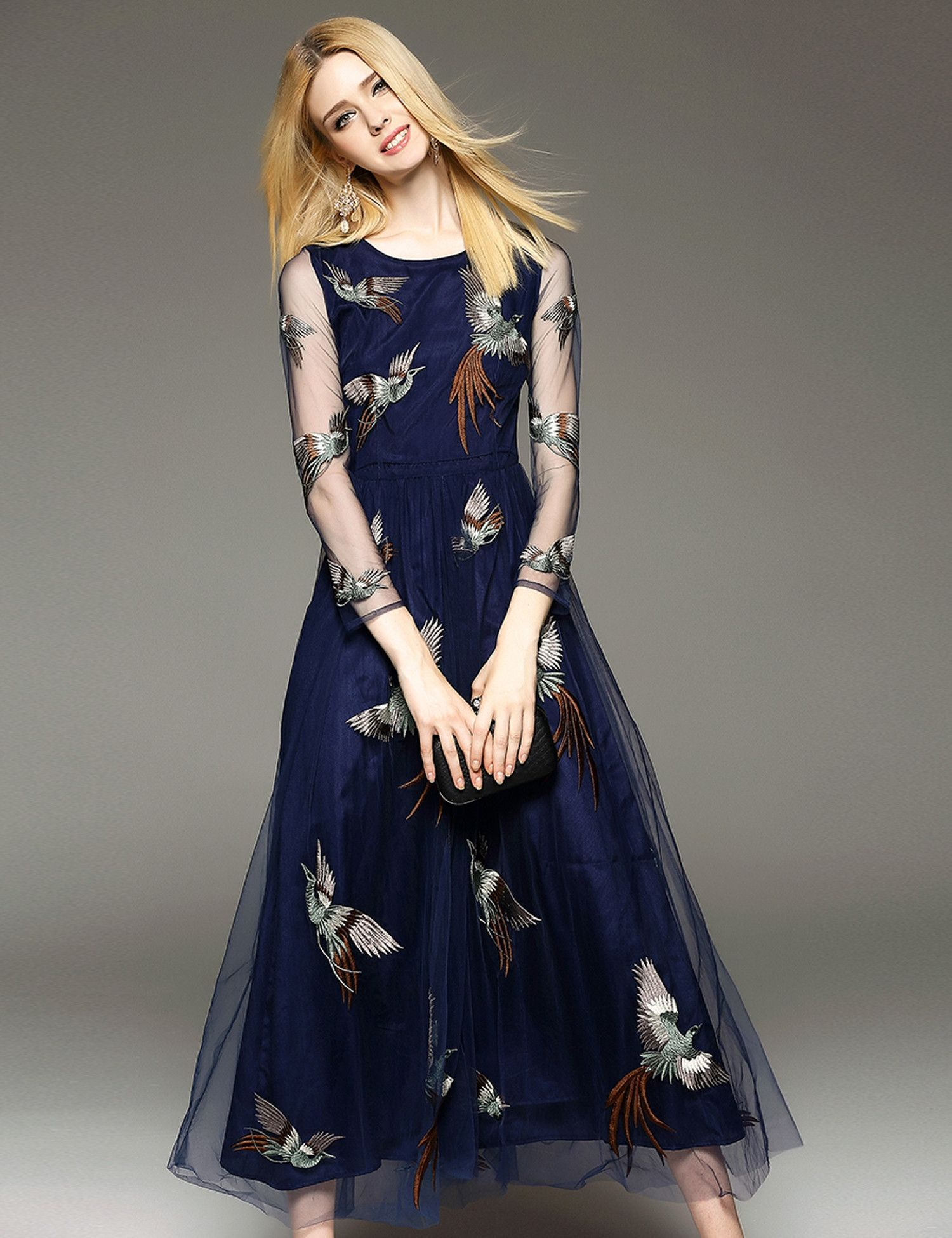 Round neck long sleeve sheer mesh embroidery long maxi dress