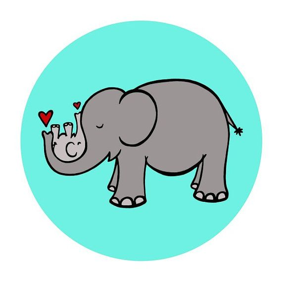 Gray Momma Elephant Cradling Baby Elephant in Turquoise ...