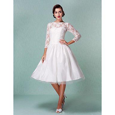Trumpet/Mermaid Plus Sizes Wedding Dress - Ivory Knee-length Bateau ...