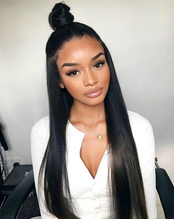 Straight Hairstyles For Black Women 100 Unprocessed Virgin Human Hair Sew In Weave Bundles With Fronta Hair Styles Straight Black Hair Brazilian Straight Hair