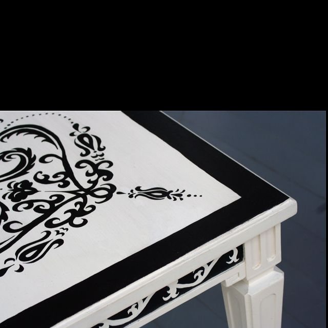 Cream & Black Hand Painted Table