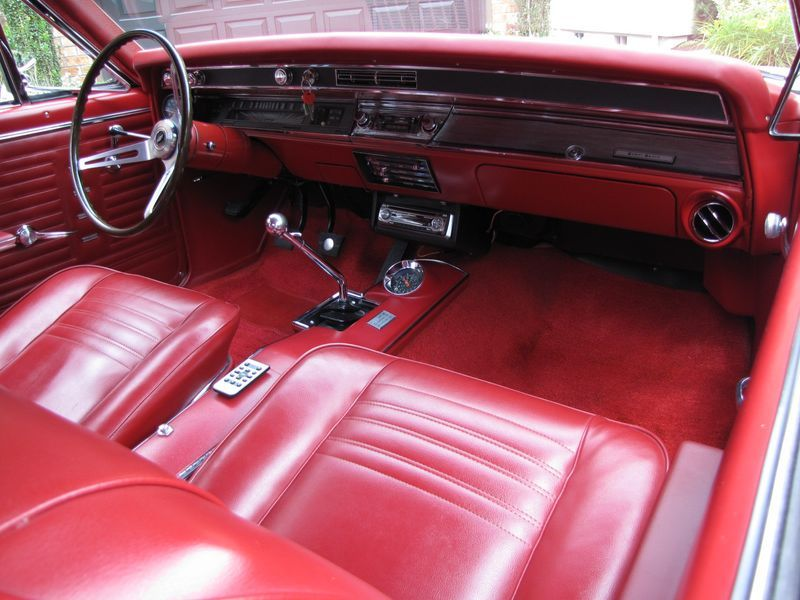 1967 Chevelle SS interior with bucket seats and center console