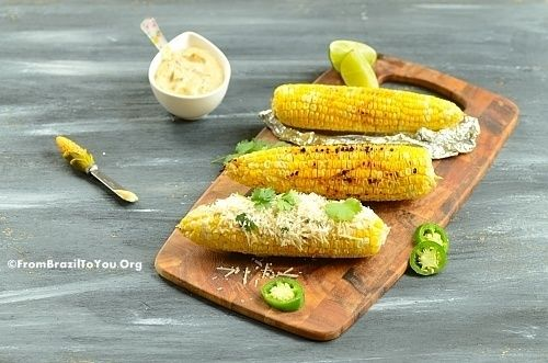 Grilled Corn on the Cob with Jalapeno-Lime Aioli and Parmesan Cheese... - From Brazil To You
