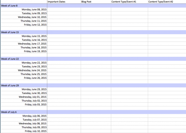 marketing calendar template excel 2015