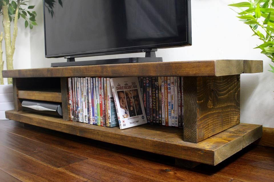 Chunky Rustic Tv Audio Unit Cabinet Solid Wood Oak Stain Handmade In The Uk Wooden Tv Stands Rustic Tv Unit Rustic Furniture Design
