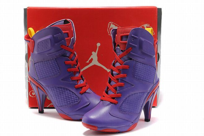 Air Jordan 6 High Heels Boots Purple Red Their ugly as hell but I just  thought it was interesting to post