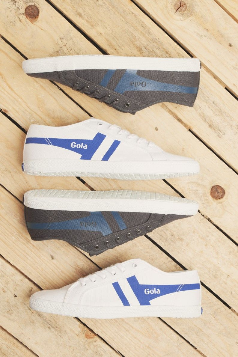 White, blue and grey Gola trainers for men with a canvas upper