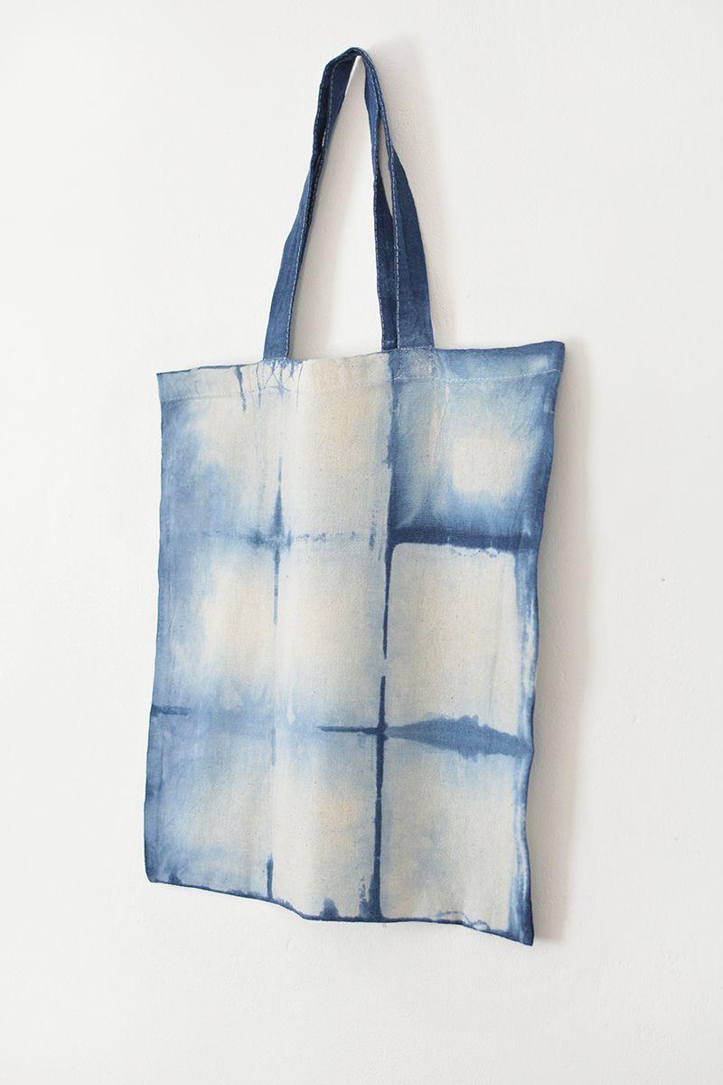 Shibori Indigo Hand Dyed Tie Dye Market Bag Tote. Handbag