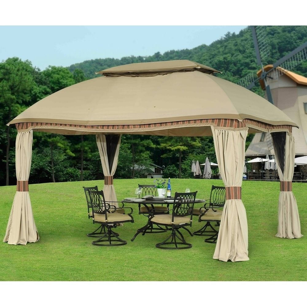Sunjoy Replacement Curtain For 10 X 13 Ft Domed Gazebo Set Beige