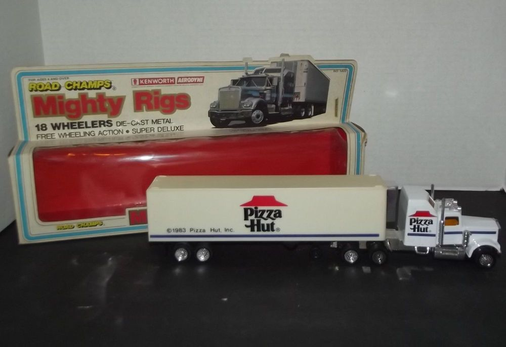 Toy Tractor Trailer Trucks : Vintage large scale pizza hut diecast tractor trailer semi