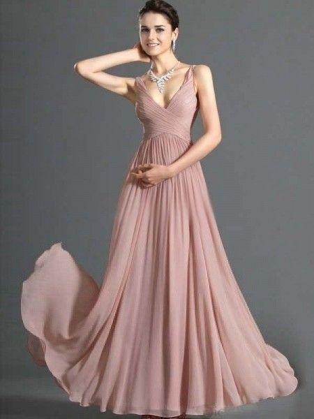 03f4f9e1ceff A-line V-neck Ruffles Sleeveless Floor-length Chiffon Dress ...
