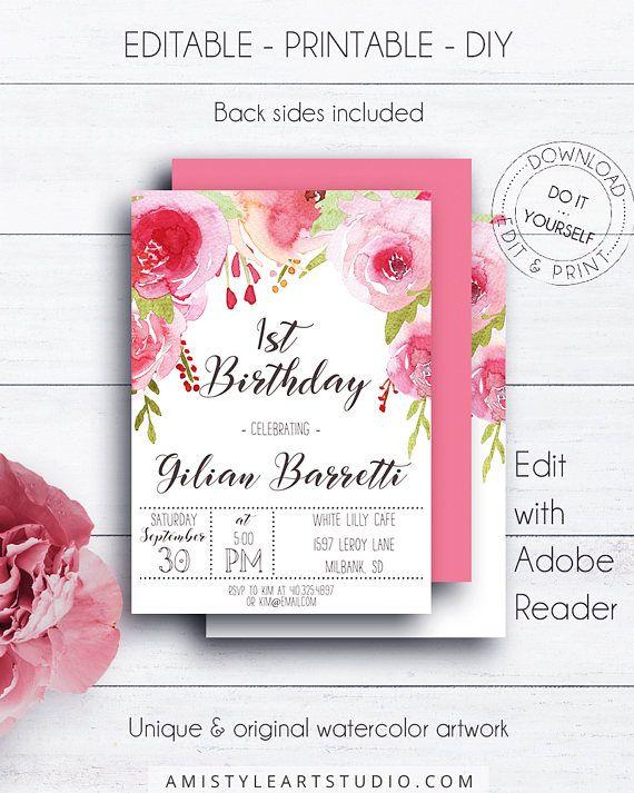 Floral 1st Birthday Invite Invitations Girl