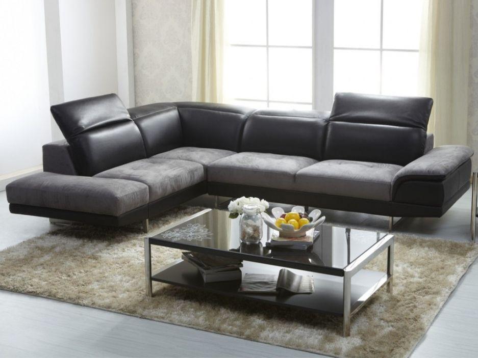 Canapé d angle bimati¨re cuir et microfibre ECLIPSE Noir et gris