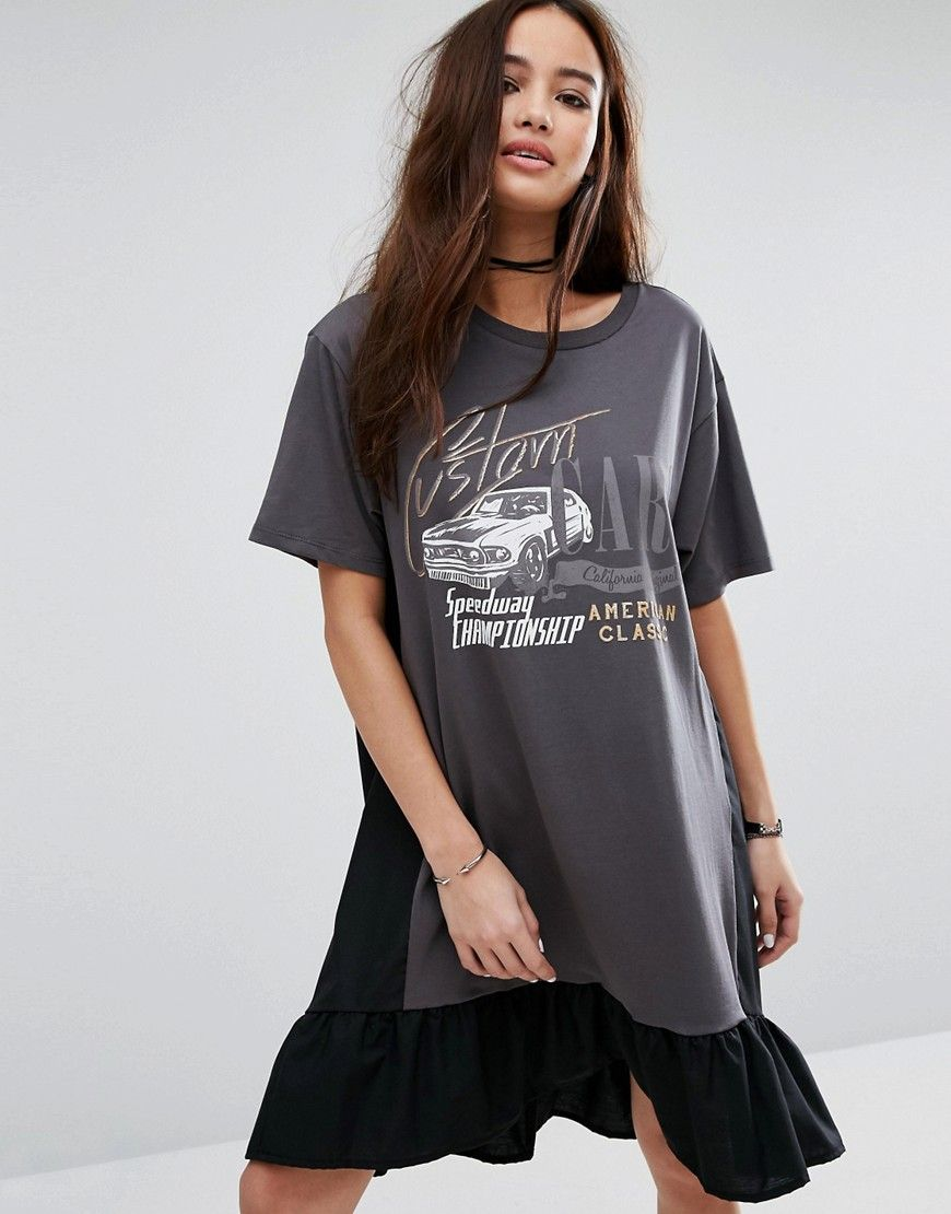 5735d9296f44 Pull Bear Frills Logo Print T-Shirt Dress - Black. T-shirt by Pull Bear